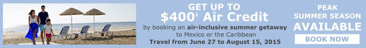 up to $400 Air Credit with air inclusive bookings