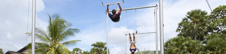 Flying trapeze and land sports